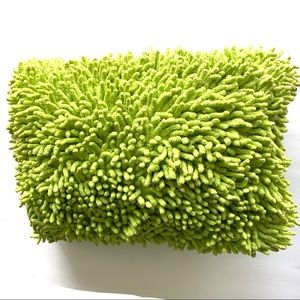 Other - Lime Green Fuzzy Throw Pillow Rectangular 16x12 in